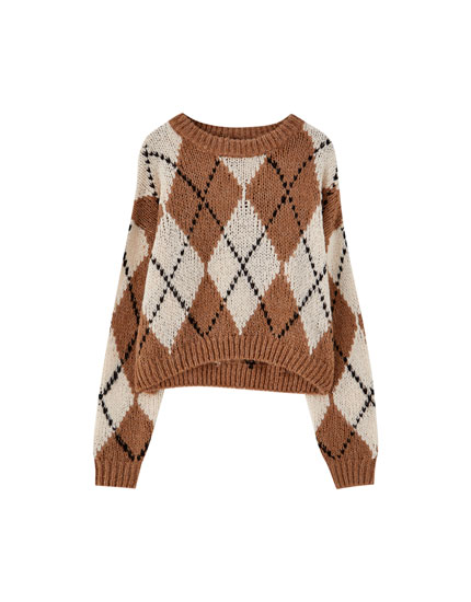 All-over argyle sweater