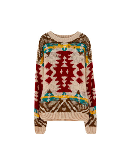 Patterned jacquard knit sweater