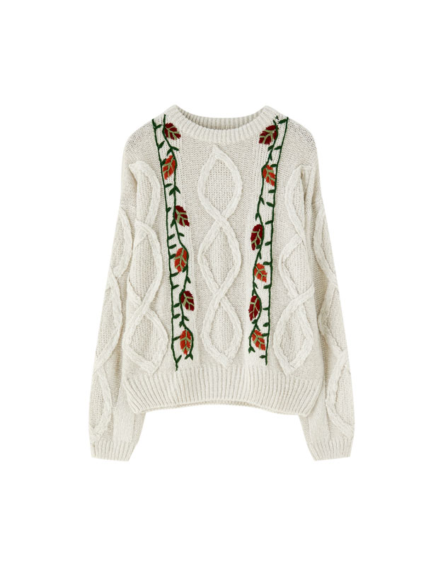 Cable-knit sweater with embroidered flowers - PULL&BEAR