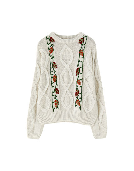Cable-knit sweater with embroidered flowers