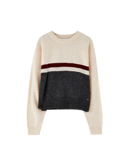 Sweater with colour blocks on the chest