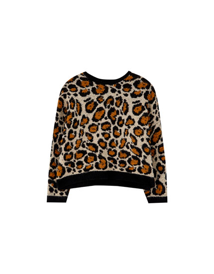 Leopard print sweater with contrasting trim