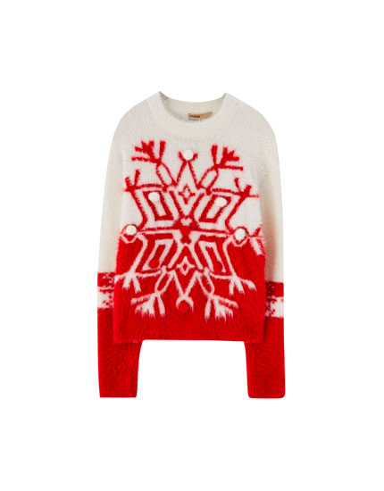 Fuzzy Christmas snowflake sweater