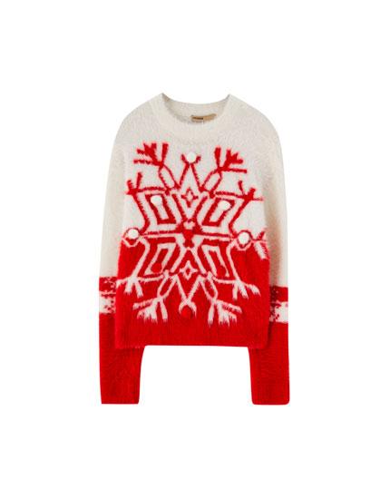 Pull Noël fausse fourrure étoile polaire