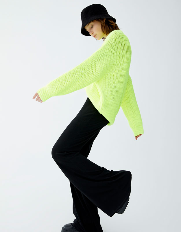 Neon Purl Knit Sweater by Pull & Bear