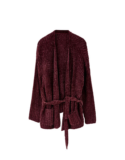 Veste point de chenille ceinture