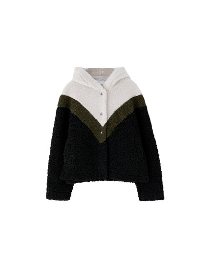 Sporty faux shearling jacket
