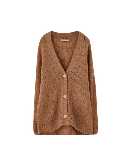 Knit oversized cardigan with wood-effect buttons