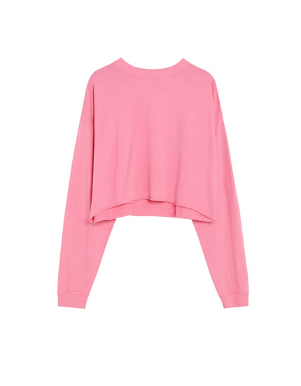 Washed-effect cropped sweatshirt