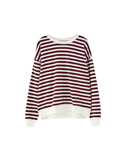 Basic sweatshirt with striped, ribbed neck