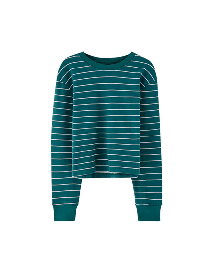 Basic striped cropped sweatshirt