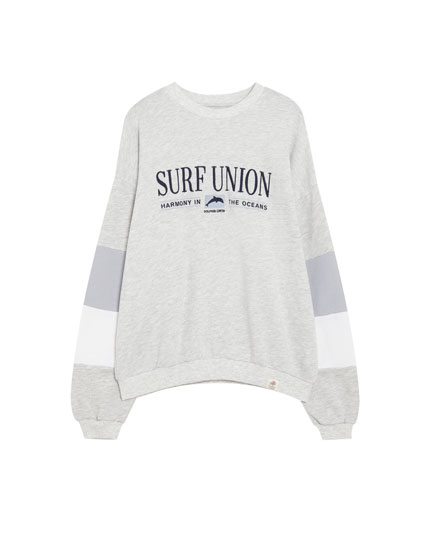 Surfer sweatshirt with panel sleeves