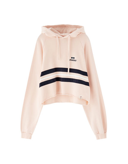 Sweat capuche bande rose