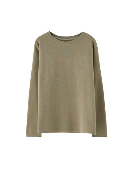 Basic-Sweatshirt mit Borte am Ausschnitt