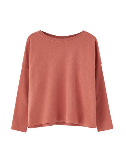 Bordürlü yaka basic sweatshirt