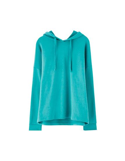 Kapüşonlu fitilli sweatshirt