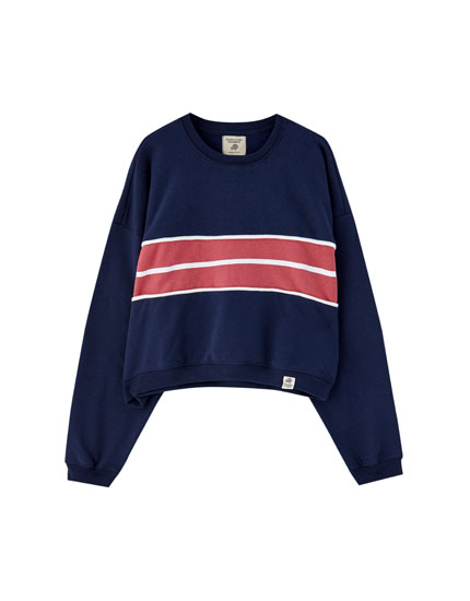 Sweatshirt mit Colour-Block in der Mitte