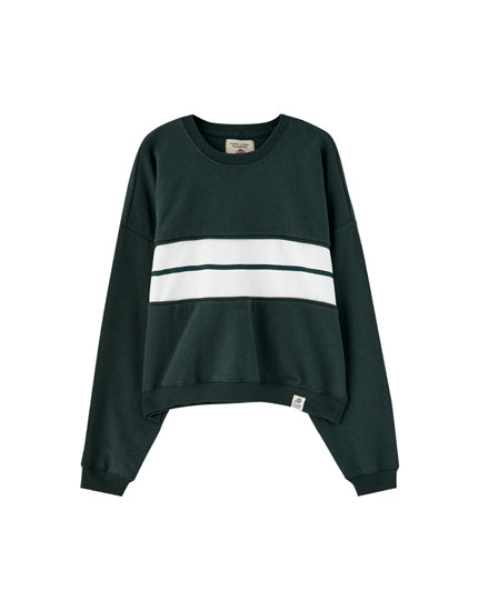Sweatshirt with central colour block