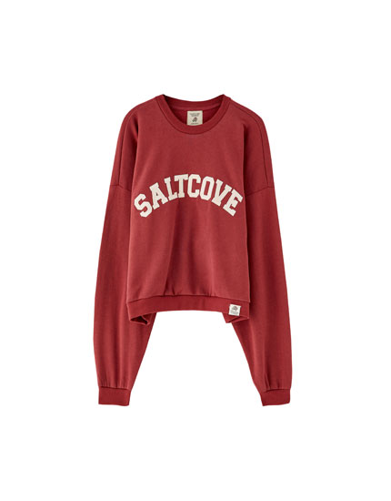 Embroidered slogan college sweatshirt