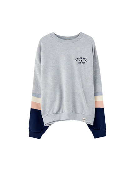Embroidered sweatshirt with panel sleeves
