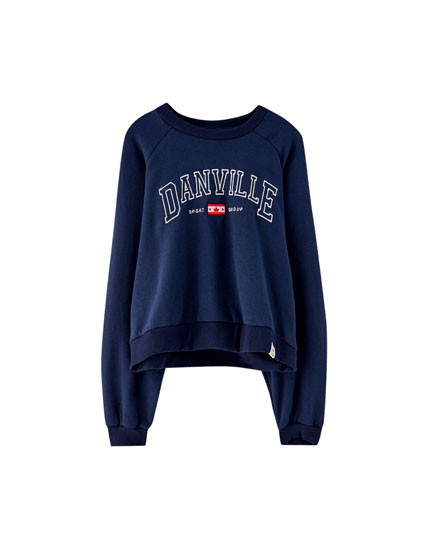 Blue varsity sweatshirt with embroidery