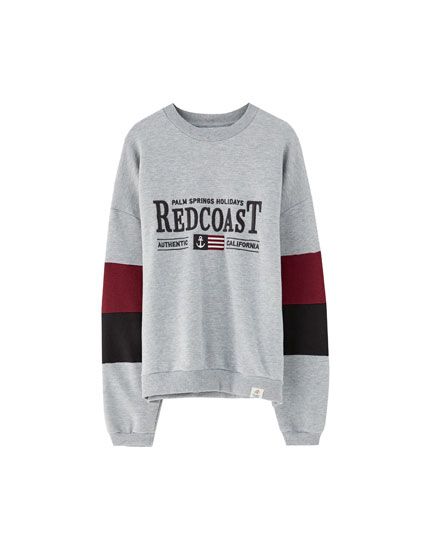 Embroidered college panel sweatshirt
