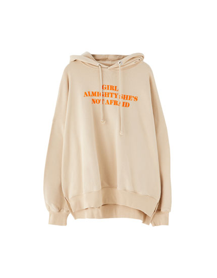 Hoodie with flocked slogan