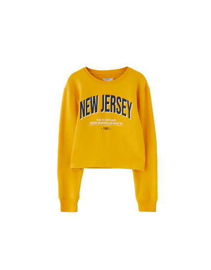 Cropped sweatshirt with slogan
