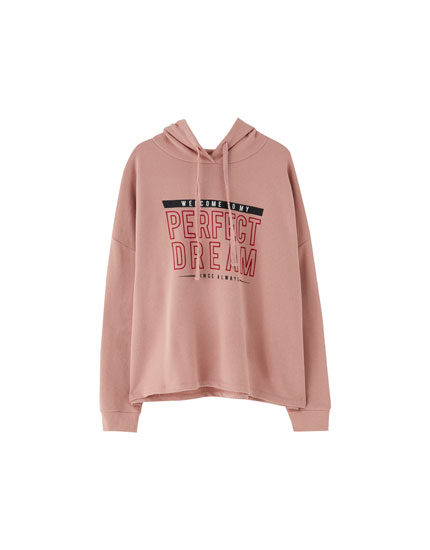 Hooded text sweatshirt