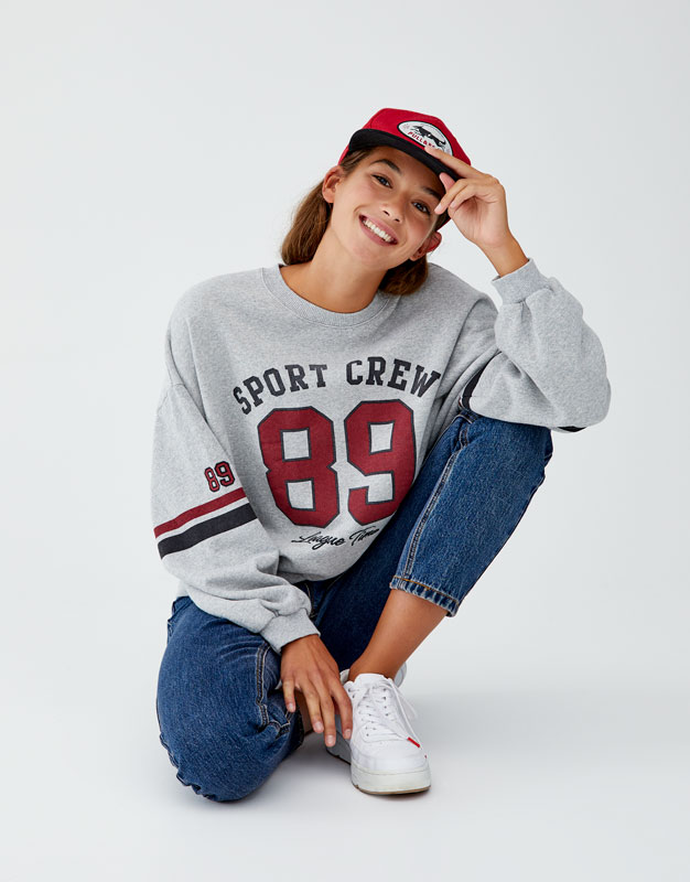 Varsity Sweatshirt With Number by Pull & Bear