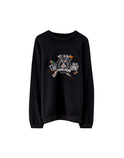 Sudadera Looney Tunes color negro