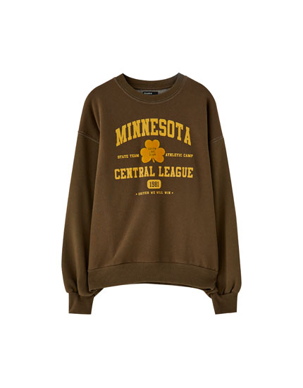 College sweatshirt with a slogan