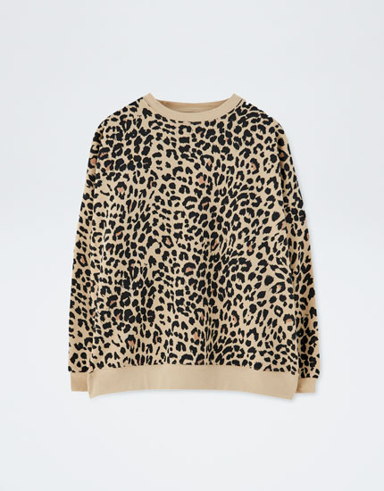 Leopard print sweatshirt with contrasting trim
