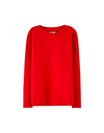 Basic sweatshirt med hals i rib