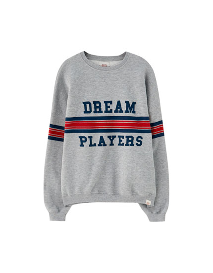 Varsity sweatshirt with striped panel