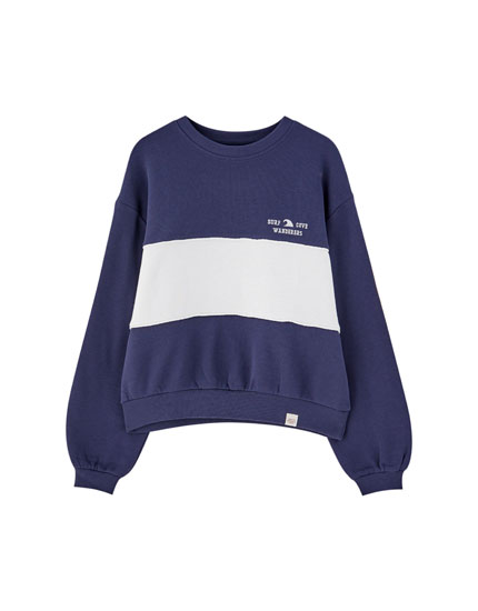 Contrast colour block sweatshirt
