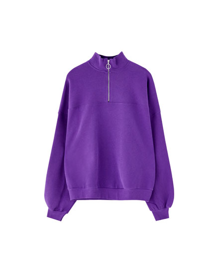 Purple sweatshirt with zip