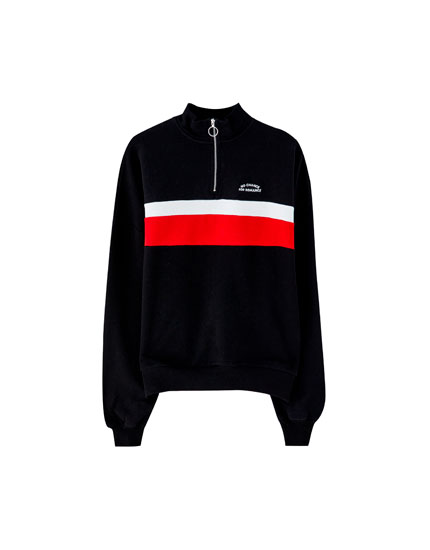 Zip sweatshirt with colour blocks