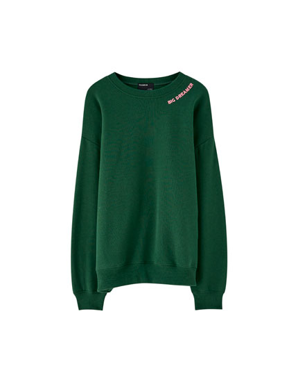 Sweat col rond broderie