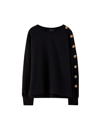 Sweatshirt with buttons down sleeve
