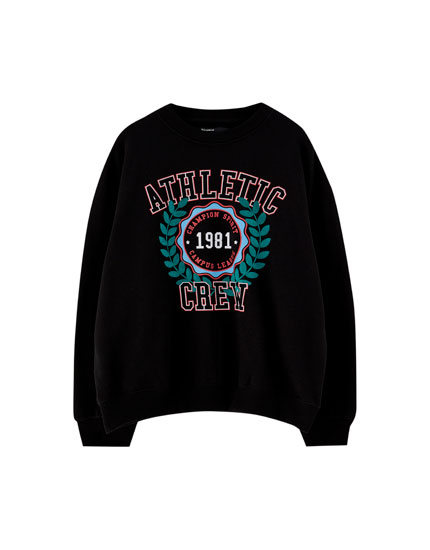Slogan and graphic sweatshirt