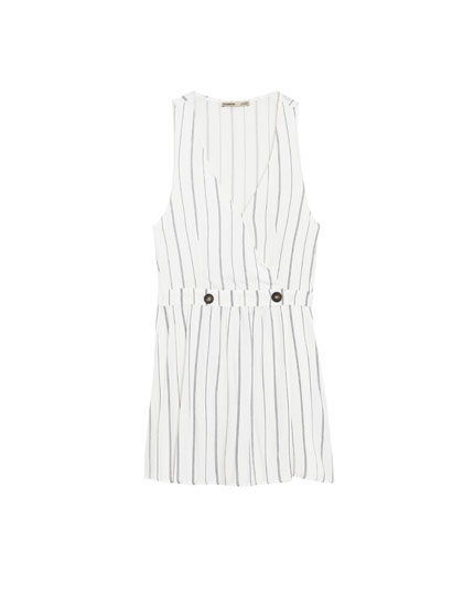 Striped short jumpsuit with buttons
