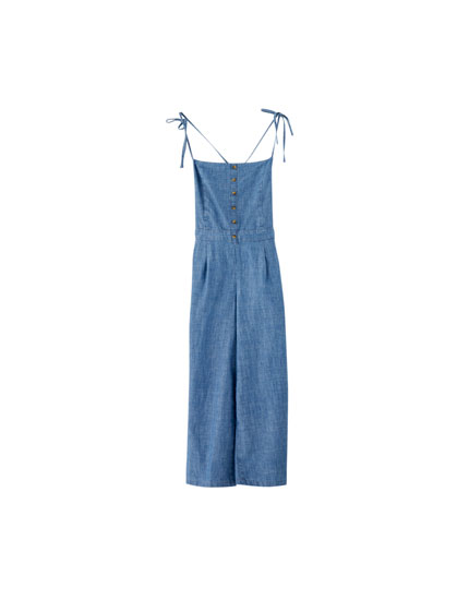 Long jumpsuit with chest buttons
