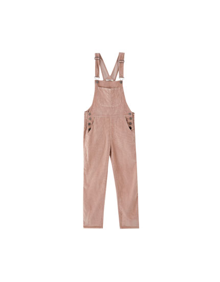 Corduroy dungarees with a pouch pocket