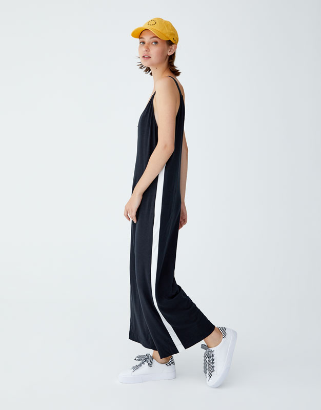 Sporty Jumpsuit With Side Stripe by Pull & Bear