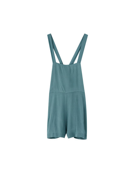Short jumpsuit with a straight neckline