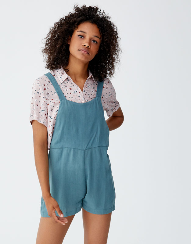 Short Jumpsuit With A Straight Neckline by Pull & Bear