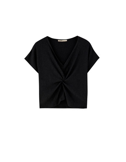 V-neck top with knot