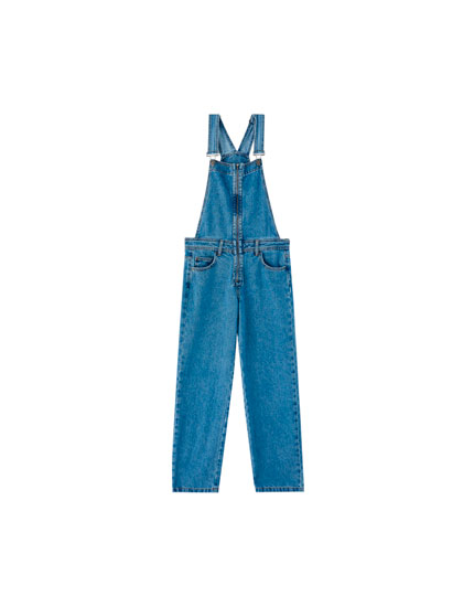 Long denim dungarees with zip