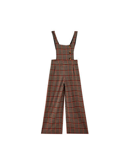 Checked jumpsuit with buttons